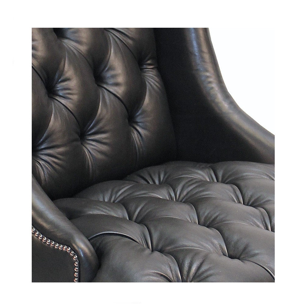 Rodin Oversized Black Leather Wing Chair