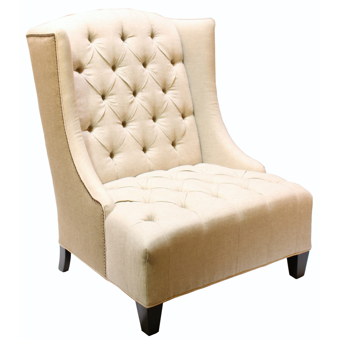 Rodin Oversized Wing Chair, Linen & Burlap