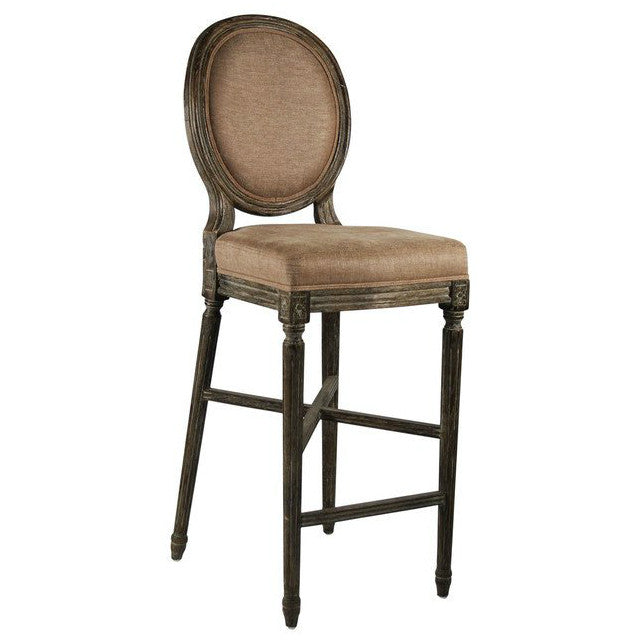 Bar Stool - Medallion Bar Stool, Limed Charcoal Oak