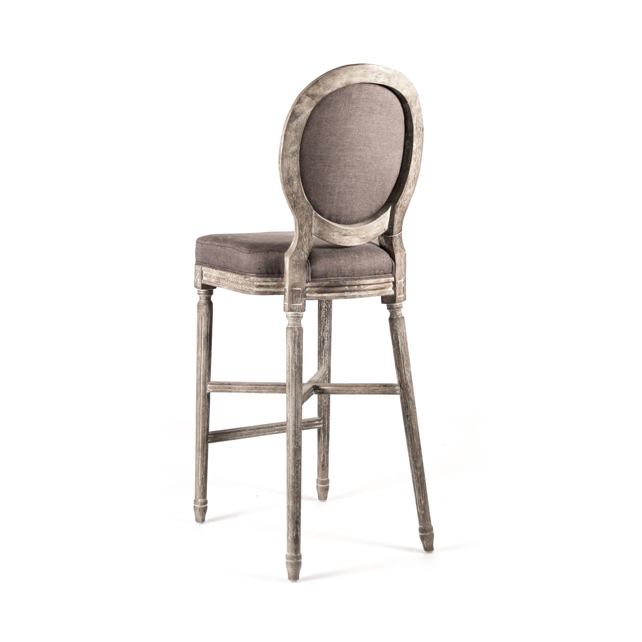Medallion Bar Stool, Limed Grey Oak - Nook & Cottage