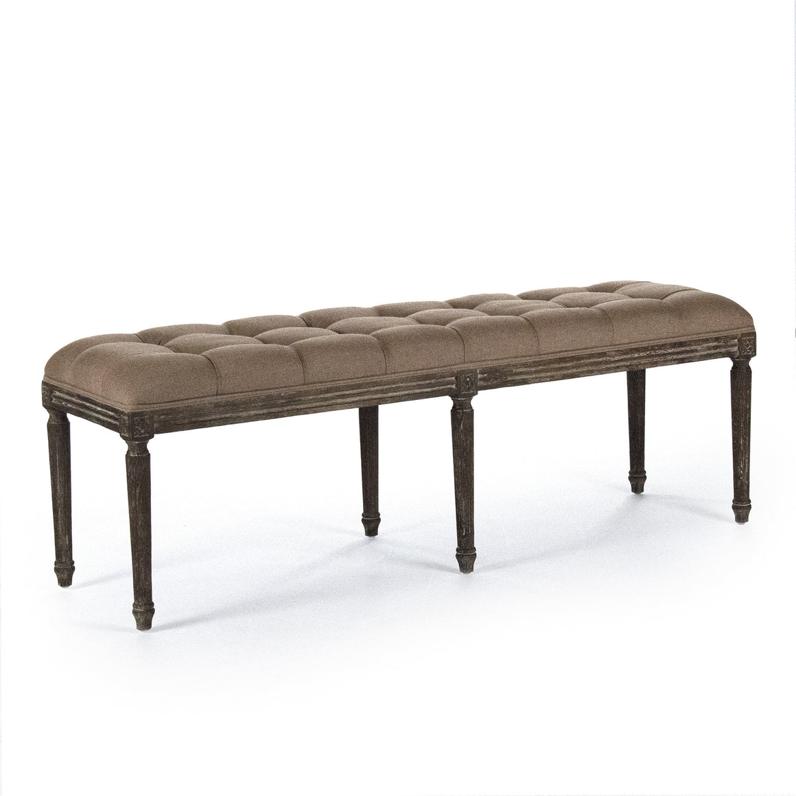 Bench - Louie Tufted Bench, Limed Oak & Copper