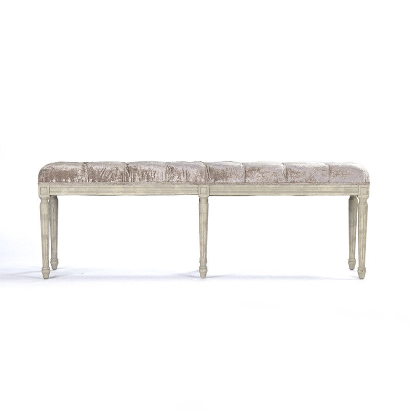 Bench - Louie Tufted Bench, Oak & Antique Rose