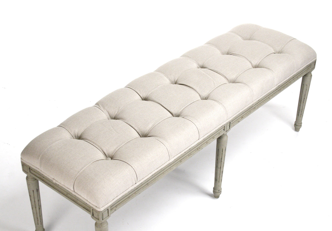 Bench - Louie Tufted Bench, Olive & Linen