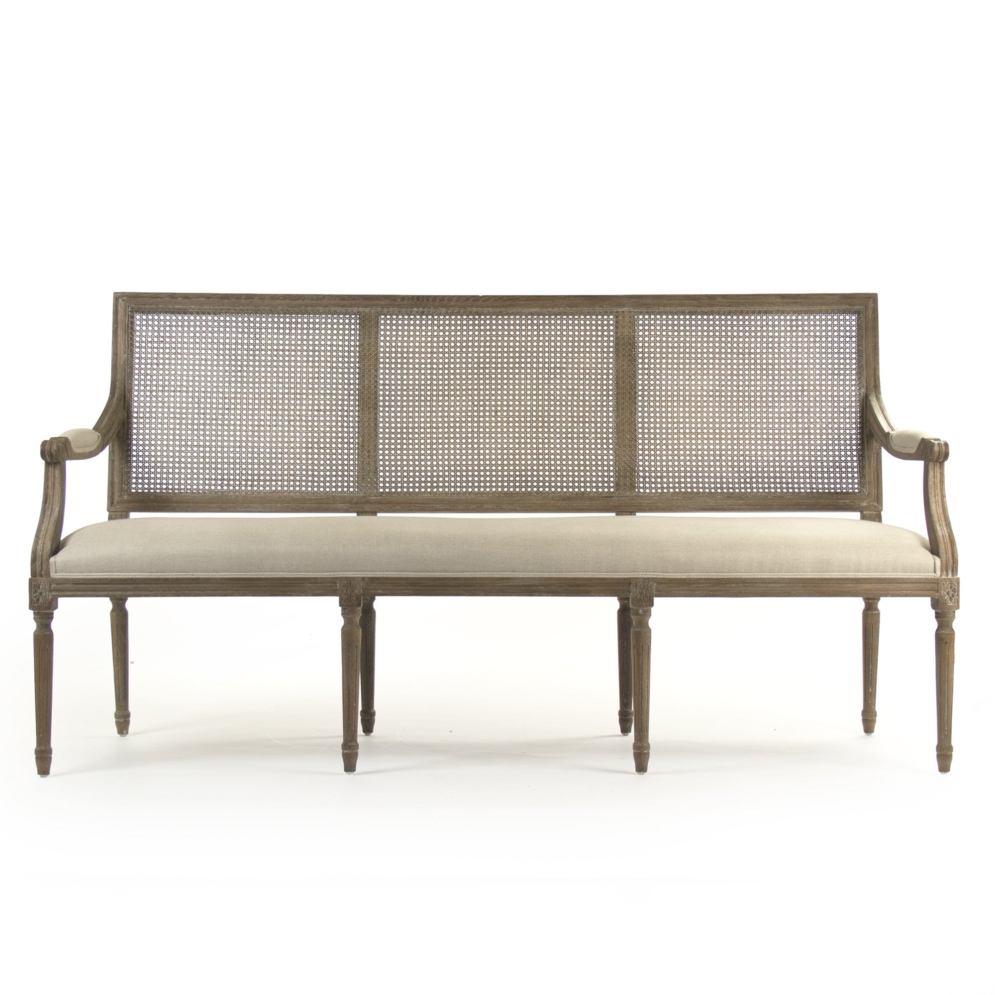 Zentique Louis Cane Back Bench Distressed Gray Oak