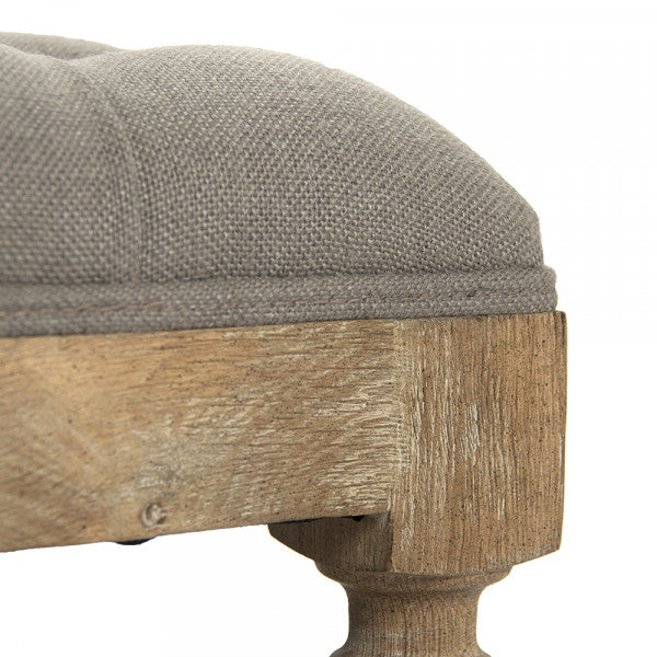 Square Tufted Grey Ottoman