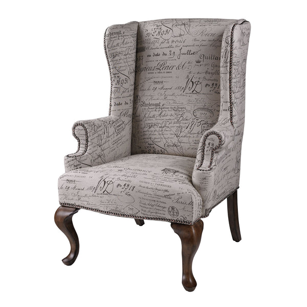 sterling marianne wing chair french script 6071399 nook cottage