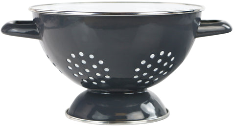 1.5 Qt Two Toned Enamel Colander, Charcoal