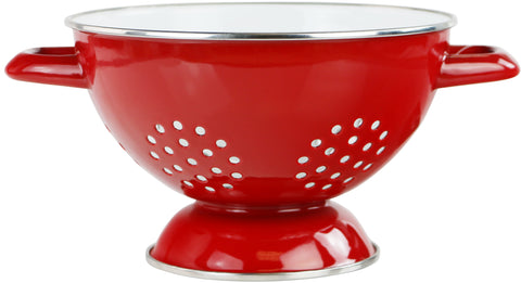 1.5 Qt Two Toned Enamel Colander, Red