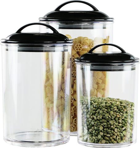 6pc Acrylic Canister Set, Black