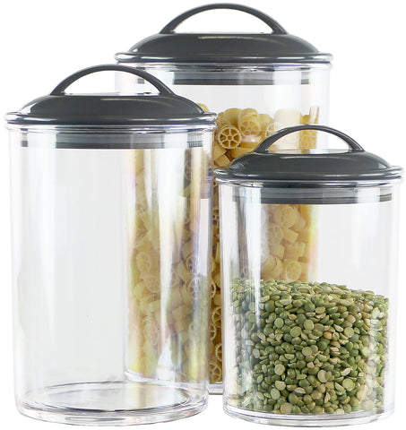 6pc Acrylic Canister Set, Charcoal