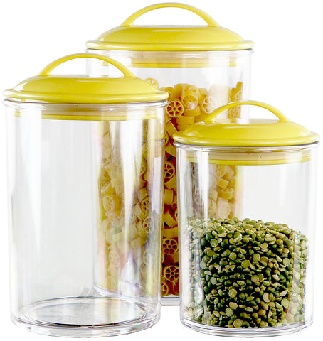 6pc Acrylic Canister Set, Lemon