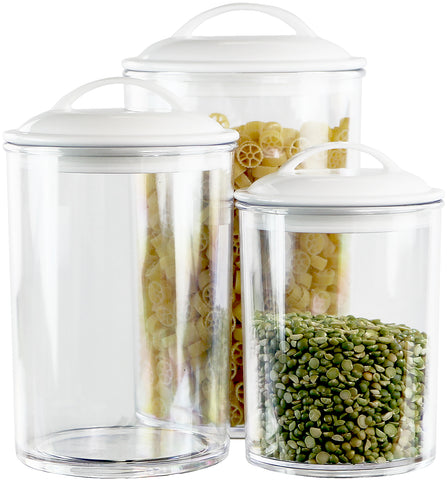 6pc Acrylic Canister Set, White
