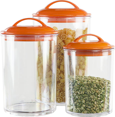 6pc Acrylic Canister Set, Orange