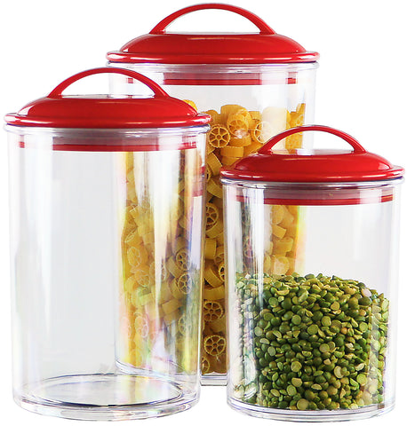 6pc Acrylic Canister Set, Red