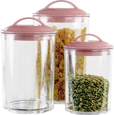 6pc Acrylic Canister Set, Pink