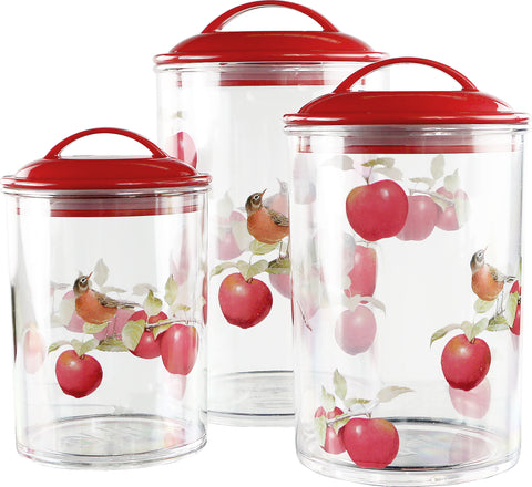 6pc Acrylic Canister Set, Harvest Apples
