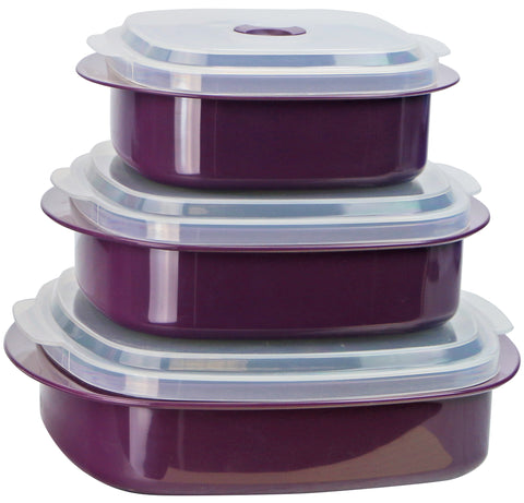 Microwave Cookware & Storage Set, Plum