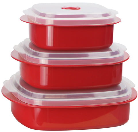 Microwave Cookware & Storage Set, Red