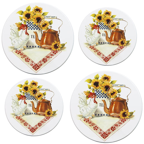 Tin Burner Cover Set, Rooster & Cooper Kettle