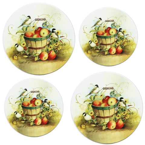 Tin Burner Cover Set, Chickadees