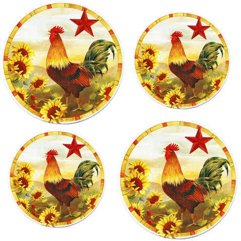 Tin Burner Cover Set, Morning Rooster