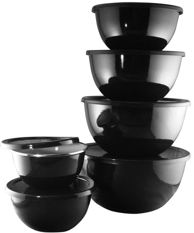 12pc Enamel on Steel Bowl Set, Black