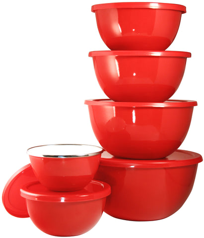 12pc Enamel on Steel Bowl Set, Red