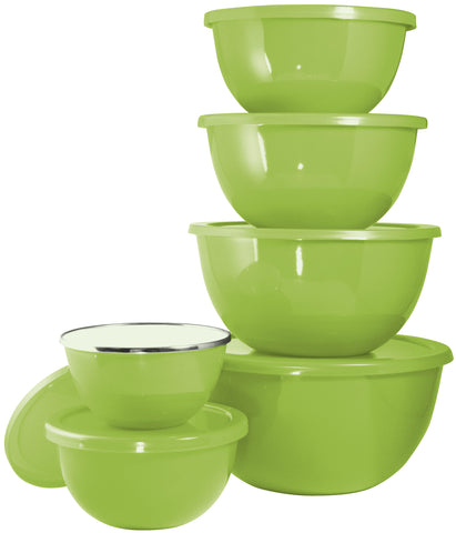 12pc Enamel on Steel Bowl Set, Lime