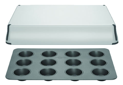 PrepCo, Bake Porter 12 cup muffin pan with Cover, Grey