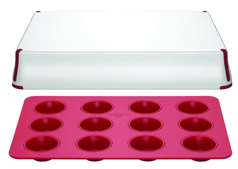 PrepCo, Bake Porter 12 cup muffin pan with Cover, Red