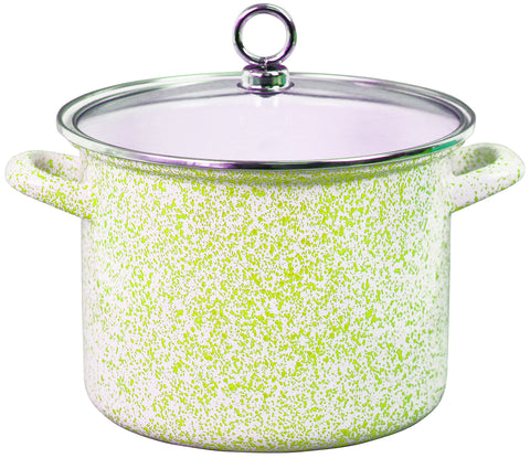 Stock Pot with Glass Lid, Lime Sponge Effect
