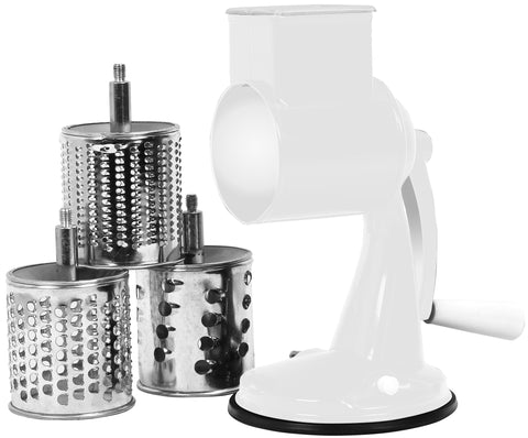 Multi-Purpose Grater, 3 Barrels, Suction Base, White