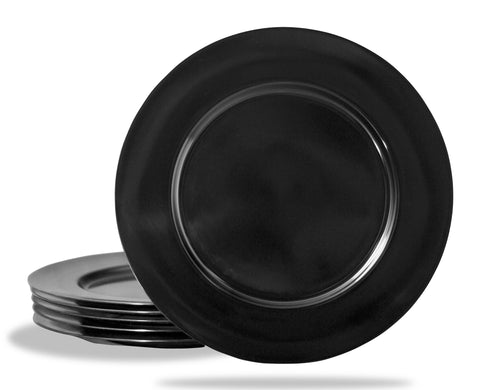 6pc Melamine Dinner Plate Set, Black
