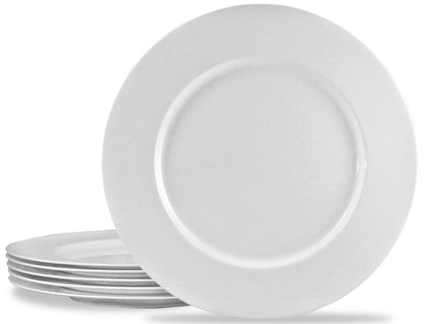 6pc Melamine Dinner Plate Set, White