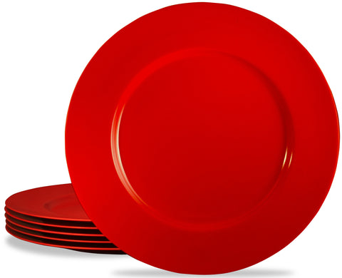6pc Melamine Dinner Plate Set, Red