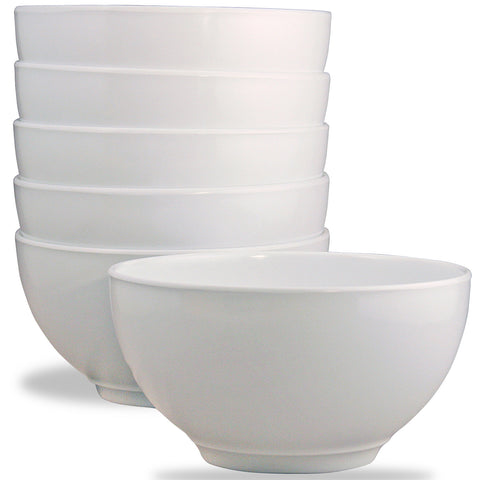 6pc Melamine Bowl Set, White