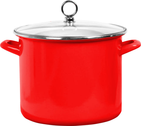 8 Qt Stock Pot with Glass Lid, Red
