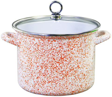 Stock Pot with Glass Lid, Orange Sponge Effect