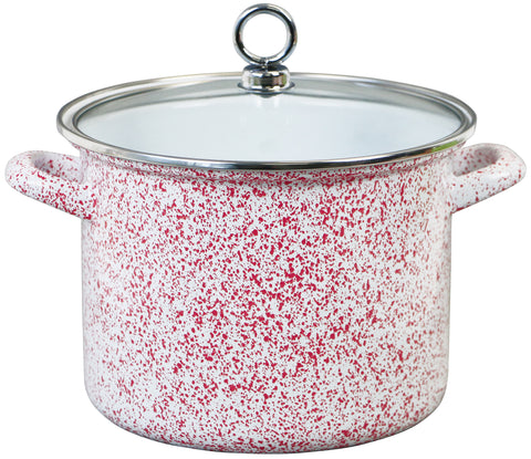 Stock Pot with Glass Lid, Red Sponge Effect