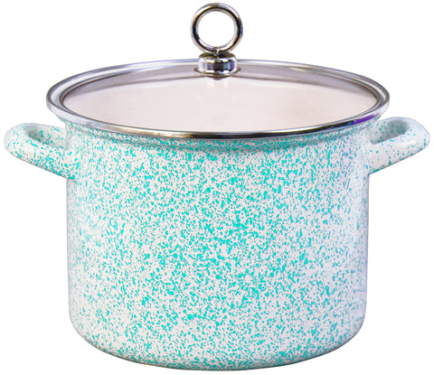 Stock Pot with Glass Lid, Turquoise Sponge Effect
