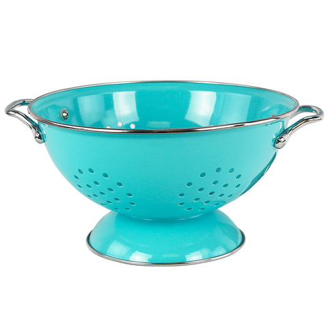 Powder Coated Colanders, Various Sizes, Turquoise