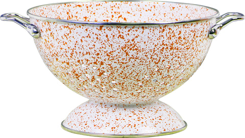 3 Qt Enamel Colander, Orange Sponge Pattern