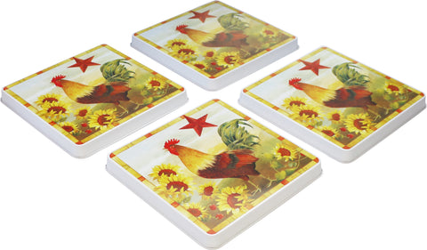 Square Tin Burner Cover, Morning Rooster