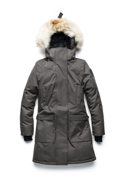 nobis-womens-merideth-ladies-parka-jackets-crosshatch-steel-grey-3/4shot