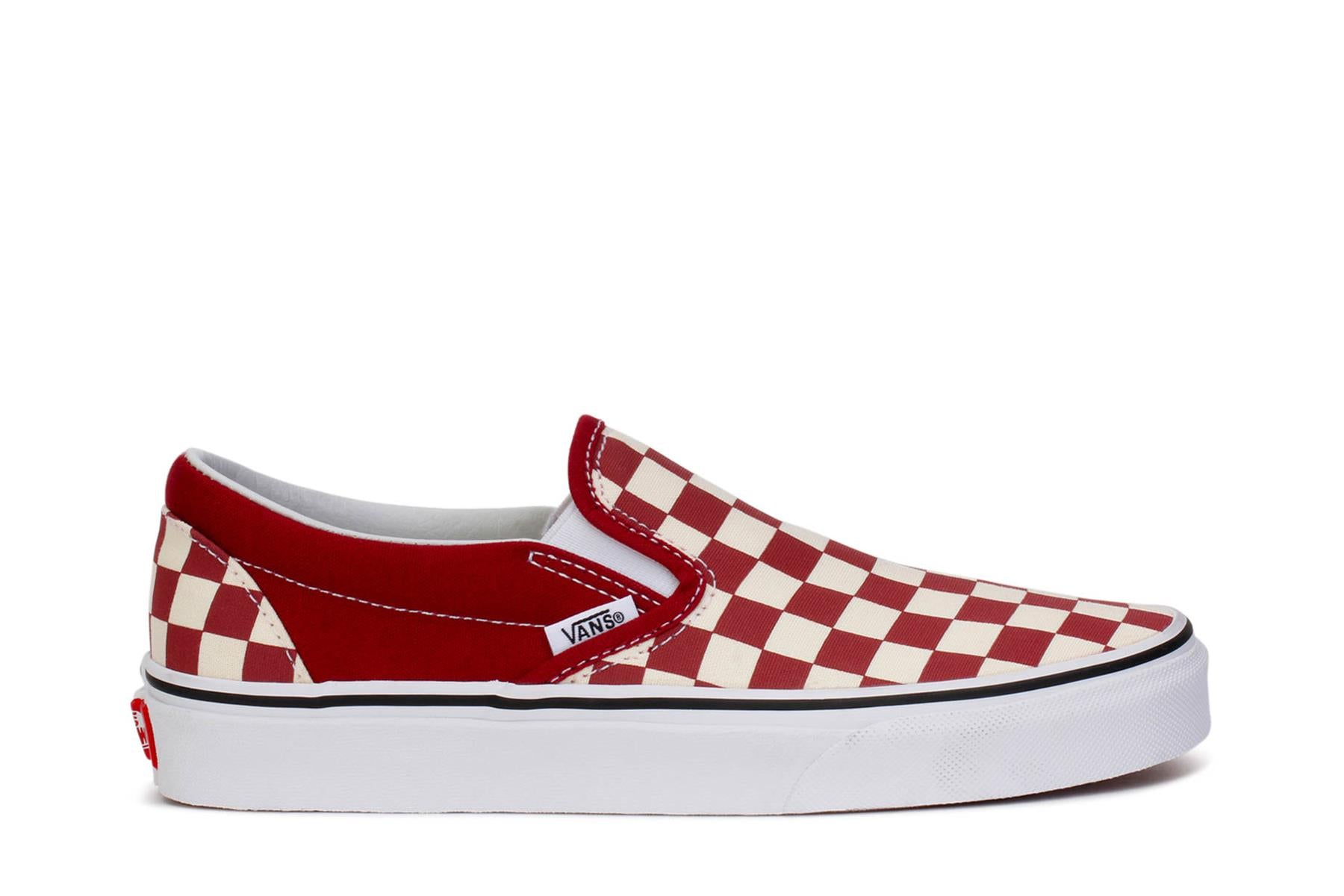 Vans Adult Sneakers Classic Slip-On Checkerboard Rumba Red True White VN0A38F7VLW