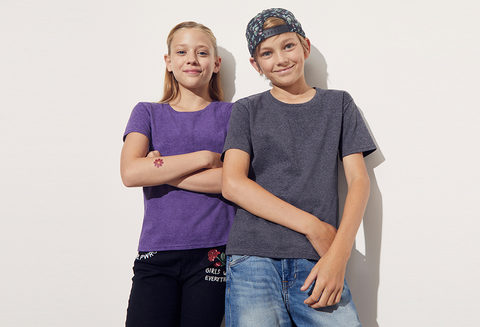 Boy And Girl Modelling Custom T-Shirts Which You Can Personalise