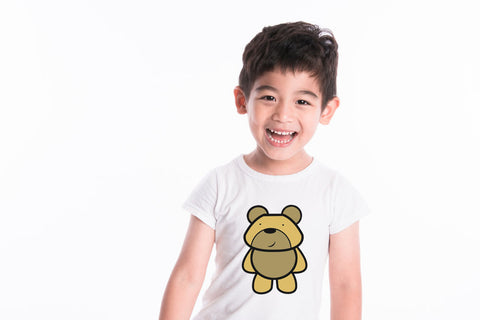 Little Boy Wearing Personalised White T-shirt With Teddy Bear T-Shirt Design
