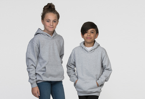 Young Boy And Girl Modelling A Grey Kid's Hoodie That You Can Add Your Own Design To