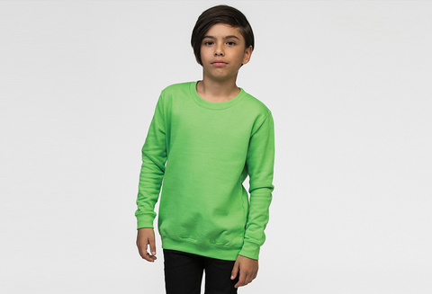 Boy Modelling Green Sweatshirt Which You Can Personalise