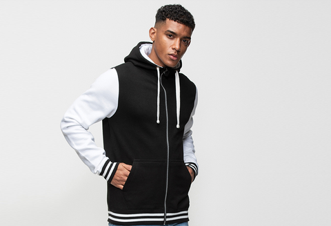 Young Male Modelling Black And White Varsity Personalised Hoodie